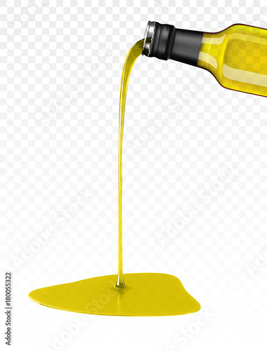 Fotografia olive oil being poured from glass bottle