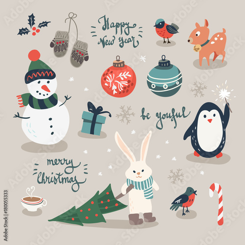 Christmas Crackers Cartoon.Christmas Cards With Mittens Snowflakes And Christmas Toys