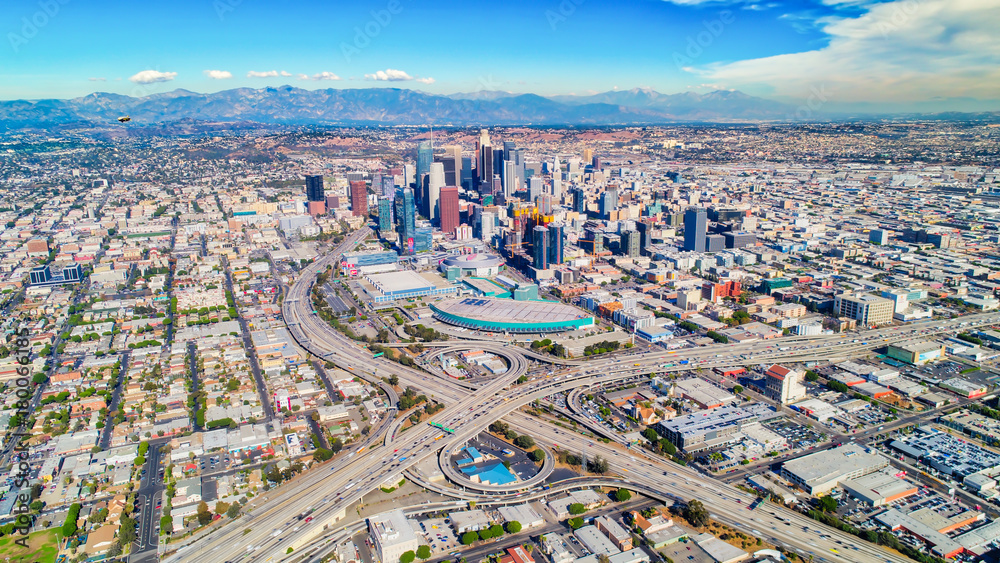 Fototapeta Aerial shot of downtown Los Angeles, ca.