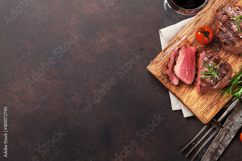 Grilled fillet steak with wine Canvas Print