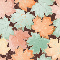FototapetaSeamless grunge pattern of colored maple leaves. EPS 10 vector illustration