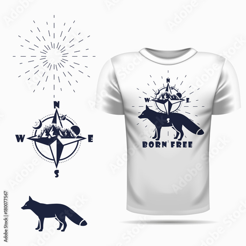 t-shirt design with Vector fox silhouette view side and compass Canvas-taulu