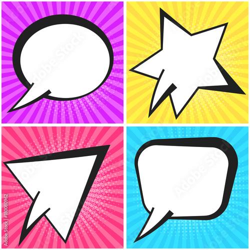 Cute Vector Retro Comic Speech Bubbles On Color Strip Background In Pop Art Style Communication