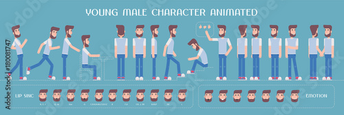 Set of vector elements for man, guy character creation and animation