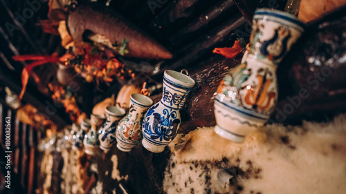 Photo  Traditional wall cups, vases decoration