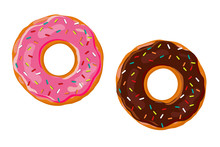 Sweet Donut. Two Donut With Pink And Chocolate Glaze Isolated On White Background. Vector