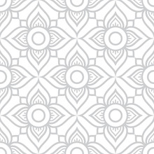 Thai Flowers Seamless Vector Pattern, Grey Floral Repetitive Design Inspired By Art From From Thailand