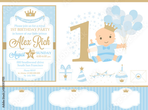 Blue And Gold Prince Party Decor Cute Happy Birthday Card Template