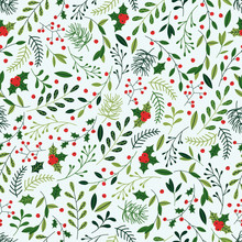 Seamless Christmas Pattern With Mistletoe, Spruce Branches, Green Leaves And Berries.