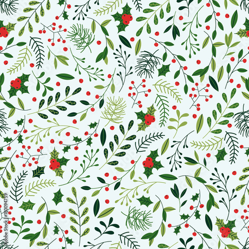 Cotton fabric Seamless Christmas Pattern with Mistletoe, Spruce Branches, Green Leaves and Berries.