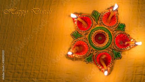 Diwali colorful clay diya lamps