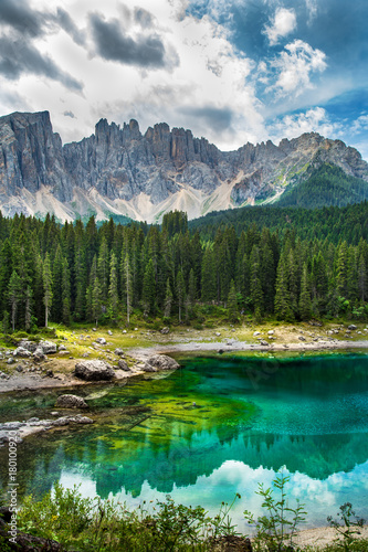 Carezza lake (Lago di Carezza, Karersee) in Dolomites Alps. South Tyrol. Italy