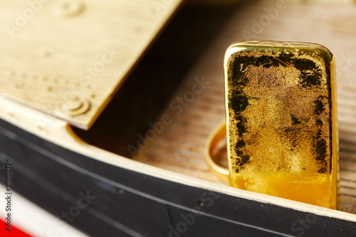 030aaeaf9289 Gold bar put on the floor of miniature ship model scene. - Buy this ...