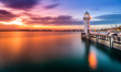 Lighthouse at Raffles Marina, during sunset Singapore