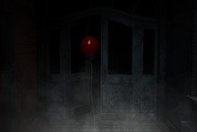 Red Balloon,3d Illustration Of Red Balloon In Haunted House