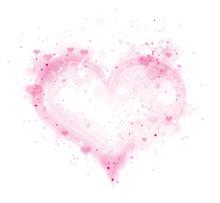Vector Pink, Splashing Heart Frame Isolated.