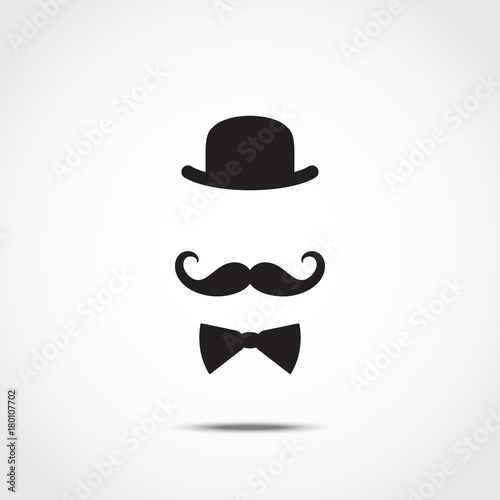 Fotografía Stylized silhouette of english gentleman isolated on white background