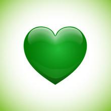Vector Sign Shiny Green Heart,...