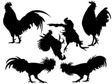 Rooster Chicken Silhouette Set