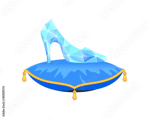 Foto Crystal Cinderella's slipper on blue pillow