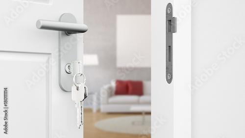 Valokuva Tür mit Schlüssel vor Wohnzimmer