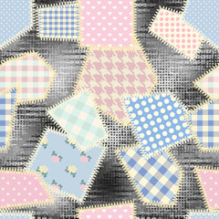 Fototapeta Seamless background pattern. Imitation of a retro patchwork pattern on a rough canvas fabric texture.