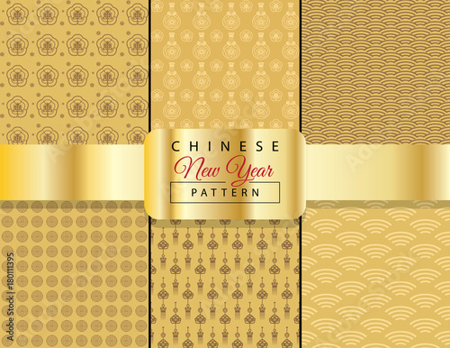 Set of Chinese New Year traditional ornamental seamless gold