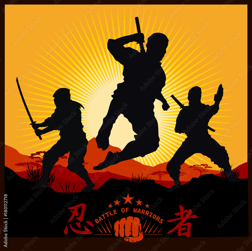 Photo  Silhouettes of Ninja Warriors against a Landscape