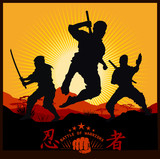 Silhouettes of Ninja Warriors against a Landscape