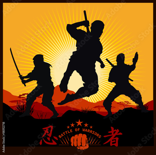 Silhouettes of Ninja Warriors against a Landscape Canvas Print