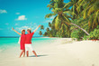 happy couple enjoy tropical beach vacation