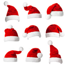 Collage With Different Shapes Of Santa Claus Helper Hat
