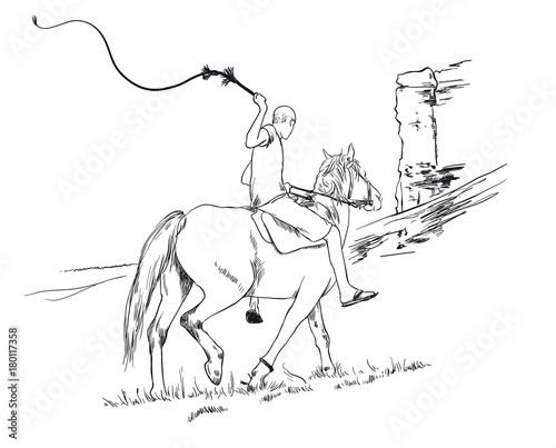 A Young Guy Rider Riding A Horse Rides Past A Cliff With A Whip In