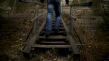Man Man Going Up Stairs. Foota...