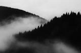 ciemny minimalny krajobraz, czarno-biała sceneria z mgłą i górami - 180124998