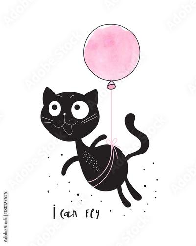 Śmieszny kot z balonem
