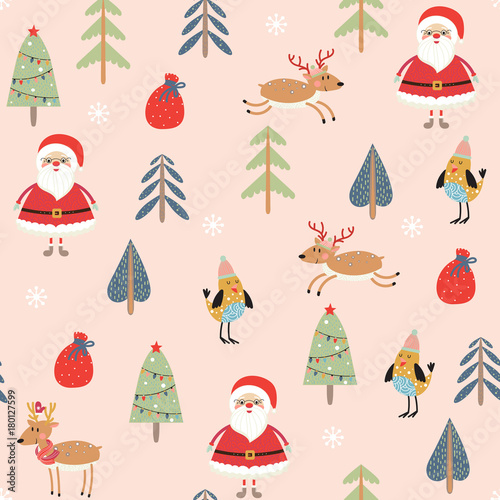 Cotton fabric Seamless pattern with Santa