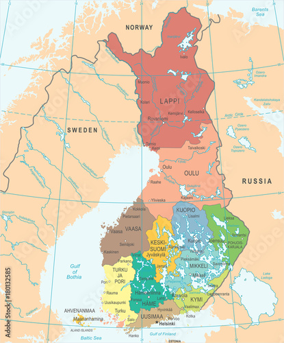 Photo Finland Map - Detailed Vector Illustration
