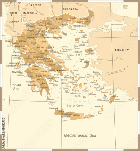 Canvas Print Greece Map - Vintage Detailed Vector Illustration