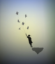 Girl Is Standing On The Edge Of Flying Rock And Holding Pigeons, Way In The Dreamland, Follow Your Dream, Shadows,