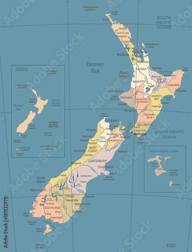 Photo New Zealand Map - Vintage Vector Illustration