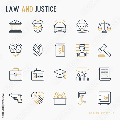 Law And Justice Thin Line Icons Set Judge Policeman Lawyer