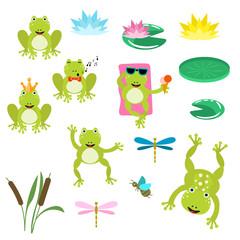 Frogs cartoon clipart vector set.
