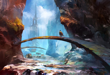 Fototapetapainted mountain landscape with a castle and a traveler