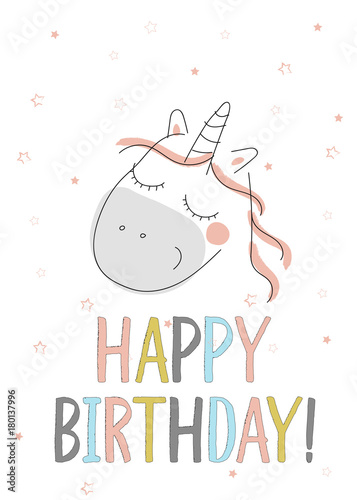 Happy Birthday Card With Cute Unicorn In Doodle Style Vector