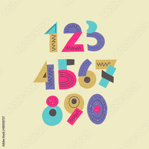 Vector colorful funny trendy set of numbers  Display signs