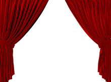 Red Fabric Theatre Curtains On...