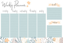 Weekly Planner With Flowers, S...
