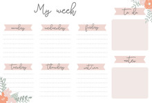 Pink Weekly Planner With Flowe...