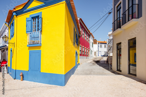 Fotografie, Obraz  Beautiful yellow building in the old town of Aveiro city in Portugal